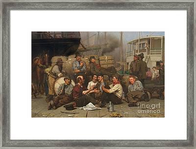 The Longshoremen's Noon Framed Print by John George Brown