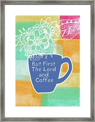 The Lord And Coffee- Art By Linda Woods Framed Print by Linda Woods
