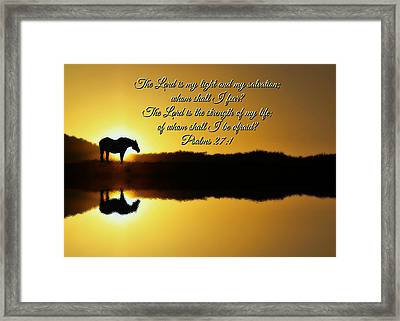The Lord Is My Light Horse And Sunrise Framed Print