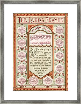 The Lord's Prayer In 14 Languages Framed Print by English School