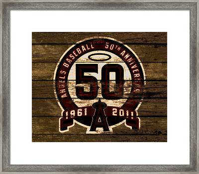 The Los Angeles Angels Of Anaheim 50 Years Of Angels Baseball 2a Framed Print