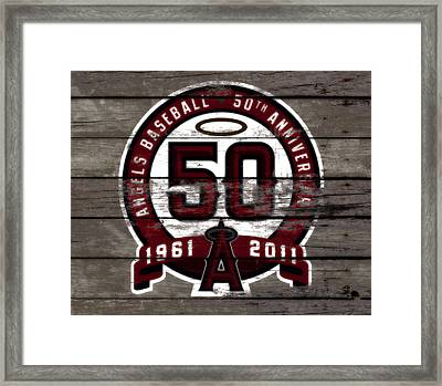 The Los Angeles Angels Of Anaheim 50 Years Of Angels Baseball Framed Print