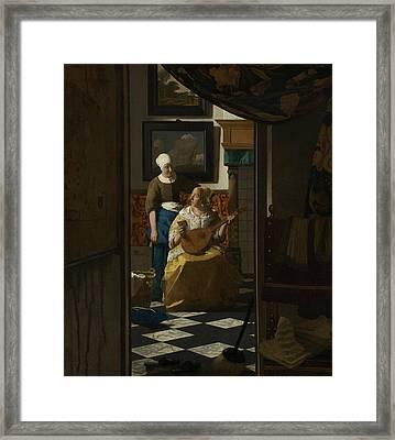 The Love Letter Framed Print by Jan Vermeer