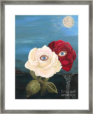 Framed Print featuring the painting The Lovers  Roses By Night by Eric Kempson