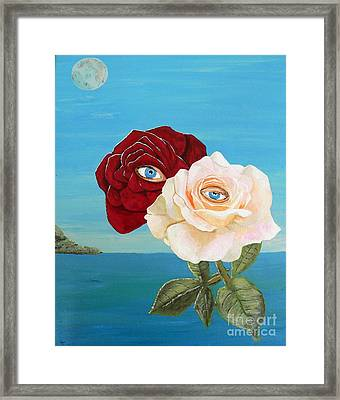 Framed Print featuring the painting The Lovers  Roses by Eric Kempson
