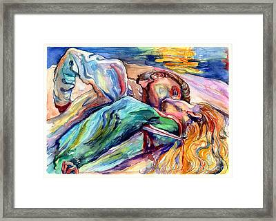 The Lovers Watercolor Framed Print