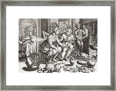 The Loving Couple, After A 15th Century Framed Print by Vintage Design Pics