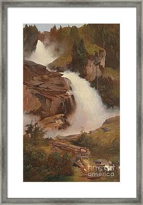 The Lower And Middle Krimmler Falls Framed Print