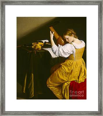 The Lute Player  Framed Print by Celestial Images