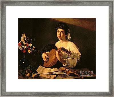 The Lute Player Framed Print by Michelangelo Merisi da Caravaggio