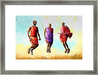The Maasai Jump Framed Print