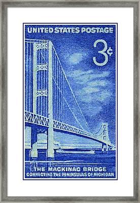 The Mackinac Bridge Stamp Framed Print by Lanjee Chee