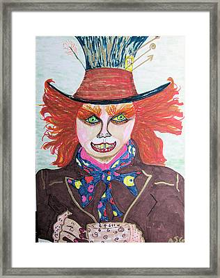Framed Print featuring the drawing The Mad Hatter by Barbara Giordano