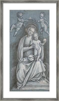 The Madonna And Child Crowned By Two Angels Framed Print by Bernardino Lanino