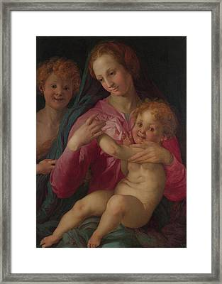 The Madonna And Child With The Infant Baptist Framed Print