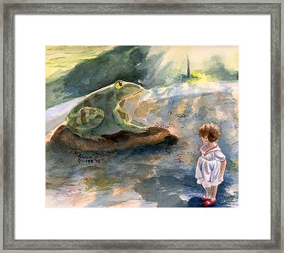 Framed Print featuring the painting The Magical Giant Frog by Andrew Gillette