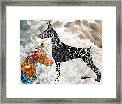 The Magnificent Doberman Framed Print by Maria C Martinez