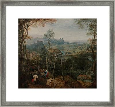 The Magpie On The Gallows Framed Print by Pieter Bruegel the Elder