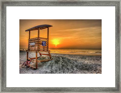 Framed Print featuring the photograph The Main Attraction Tybee Island Sunrise Lifeguard Stand Beach Art by Reid Callaway