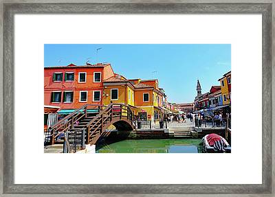 The Main Street On The Island Of Burano, Italy Framed Print