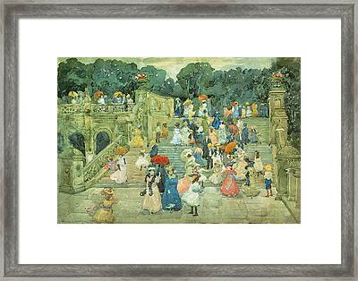 The Mall Central Park Framed Print by  Maurice Prendergast