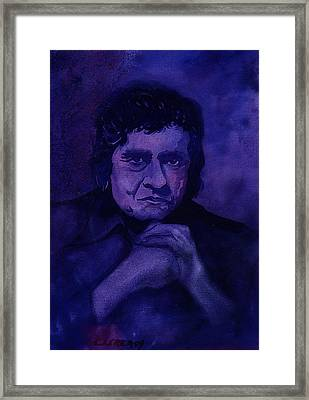 The Man In Black In Blue Framed Print by Chuck Creasy