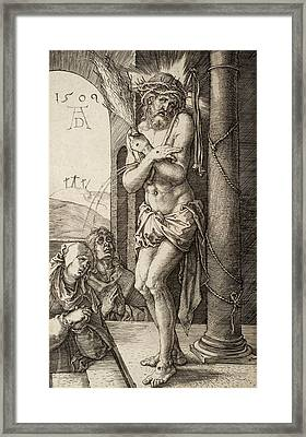 The Man Of Sorrows By The Column With The Virgin And St. John  Framed Print