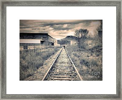 The Man On The Tracks Framed Print by Tara Turner