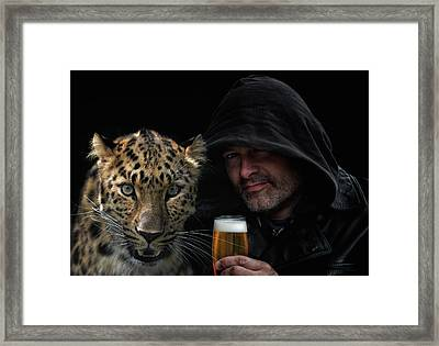 The Man, The Cat And A Beer Framed Print