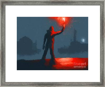 The Man With The Flare Framed Print
