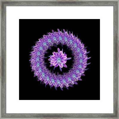 The Mandala Of Purple Tropical Flower Framed Print by Jacqueline Migell