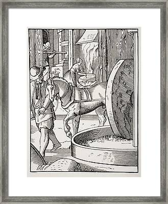 The Manufacture Of Oil. 19th Century Framed Print by Vintage Design Pics