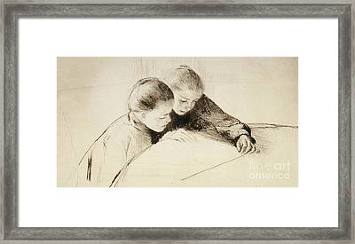 The Map Framed Print by Mary Stevenson Cassatt