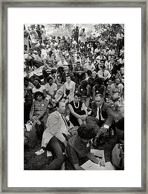 The March On Washington   A Crowd Of Seated Marchers Framed Print by Nat Herz