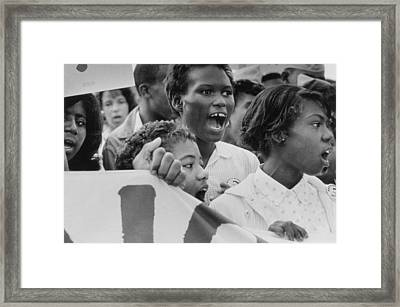 The March On Washington   A Group From Detroit Framed Print by Nat Herz