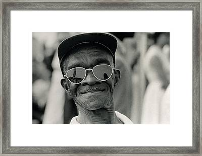 The March On Washington  A Smiling Man At Washington Monument Grounds Framed Print by Nat Herz