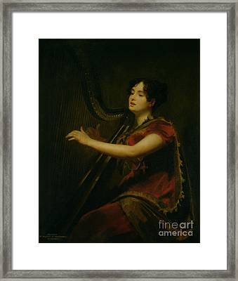 The Marchioness Of Northampton Playing A Harp Framed Print