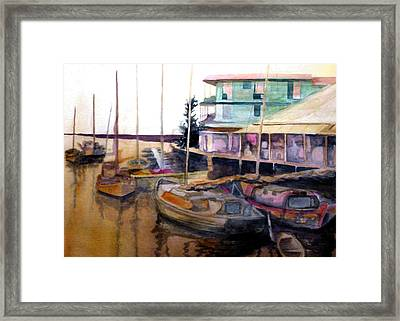 Framed Print featuring the painting The Marina by Jim Phillips