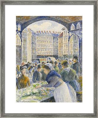 The Market Framed Print by Camille Pissarro
