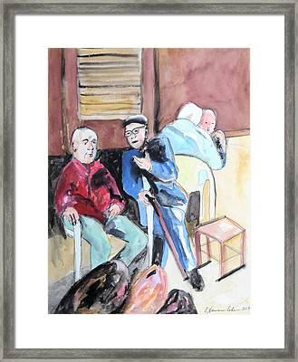 Framed Print featuring the painting The Market Parliament by Esther Newman-Cohen