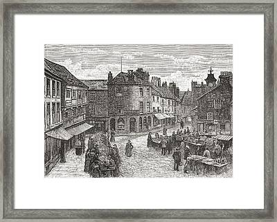 The Market Place And Old Town Hall Framed Print by Vintage Design Pics