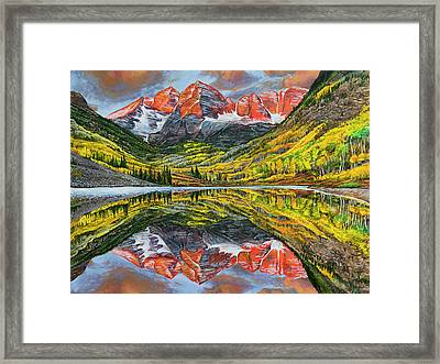 Framed Print featuring the painting The Maroon Bells  by Aaron Spong