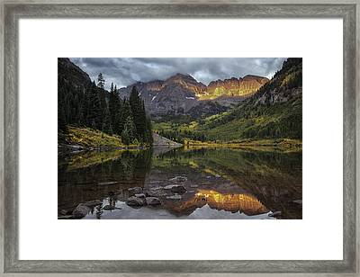 The Maroon Bells At Dawn Framed Print by Thomas Schoeller