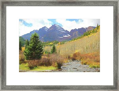 Framed Print featuring the photograph The Maroon Bells Reimagined 3 by Eric Glaser