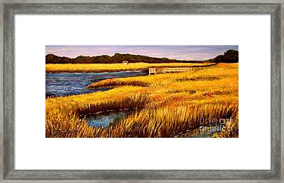 Framed Print featuring the painting The Marsh At Cherry Grove Myrtle Beach South Carolina by Patricia L Davidson