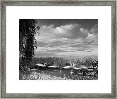 The Marsh-in Black And White Framed Print by Janal Koenig