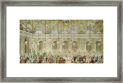 The Masked Ball At The Galerie Des Glaces Framed Print by Charles Nicolas Cochin II