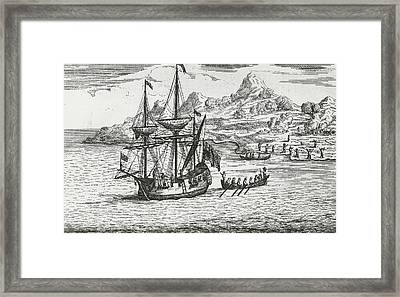 The Massacre And Burning The Two Villages At Madagascar Framed Print by English School