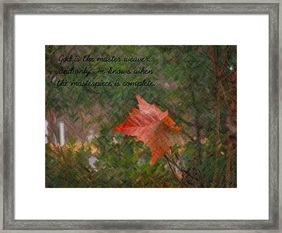 The Master Weaver Framed Print by Judy  Waller