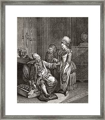 The Matchmaker With Her Goods. From Framed Print by Vintage Design Pics